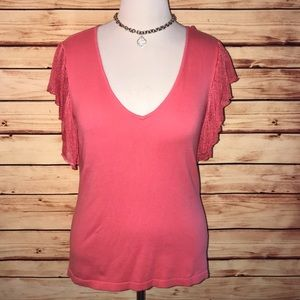 American Living Coral Flutter Sleeve Top